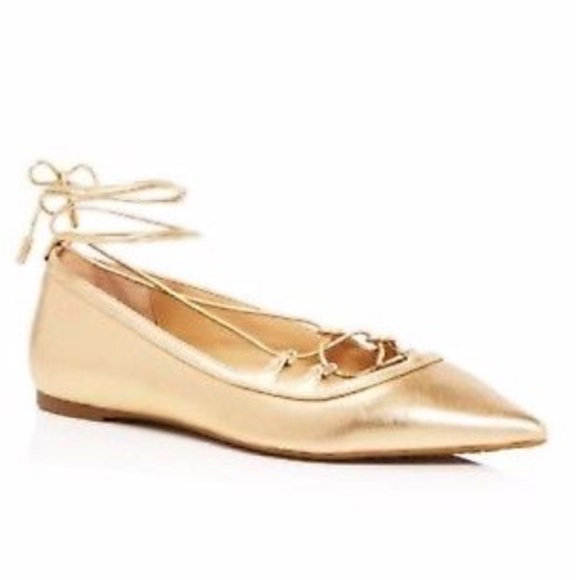 Michael Kors Gold Lace Up Flats Tabby